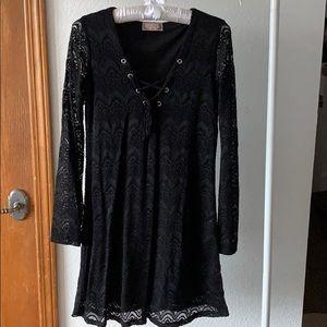 Black Lace Long Sleeve Tie Dress